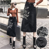 skirt Spring 2021 S,M,L,XL,2XL,3XL,4XL,5XL black Mid length dress street High waist skirt Big flower Type H 51% (inclusive) - 70% (inclusive) Denim JSWETR cotton Holes, embroidery, pockets, tridimensional decoration, buttons, zippers Europe and America