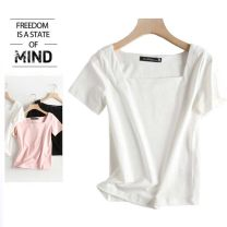 T-shirt Black, white, pink S,M,L Summer 2020 Short sleeve square neck Self cultivation Regular Sweet cotton 86% (inclusive) -95% (inclusive) college