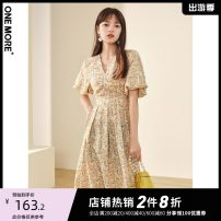 Dress Spring 2021 Decor square collar 155/80A/XS 160/84A/S 165/88A/M Mid length dress singleton  Short sleeve commute V-neck High waist Decor zipper A-line skirt routine 25-29 years old one more lady Bandage A1YAA306185-465425 More than 95% polyester fiber Polyester 100%