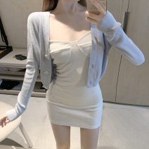 Dress Spring 2021 Blue knitted coat, white suspender skirt Average size Short skirt singleton  Long sleeves commute square neck Solid color Socket routine 18-24 years old Korean version 81% (inclusive) - 90% (inclusive) other