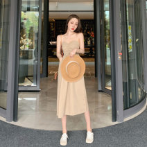 Dress Spring 2021 Picture color Average size Mid length dress singleton  Sleeveless commute High waist Solid color other Big swing other Breast wrapping 18-24 years old Type A Korean version Pleating 81% (inclusive) - 90% (inclusive) other
