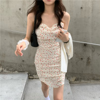 Dress Summer 2021 Cardigan, suspender skirt S. M, average size Short skirt Two piece set Sleeveless commute square neck Broken flowers Socket other camisole 18-24 years old 81% (inclusive) - 90% (inclusive)
