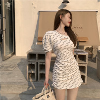 Dress Summer 2021 Grey, white S, M Short skirt singleton  Short sleeve commute Crew neck Socket A-line skirt puff sleeve 18-24 years old Type A Other / other Korean version printing 81% (inclusive) - 90% (inclusive)
