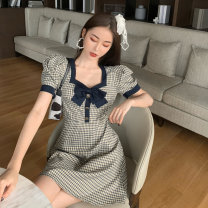 Dress Summer 2021 Check pattern S, M Middle-skirt singleton  Short sleeve commute square neck lattice Socket puff sleeve Others 18-24 years old Type A 81% (inclusive) - 90% (inclusive)