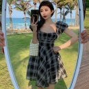 Dress Summer 2021 Black and white S, M Short skirt singleton  Short sleeve commute square neck High waist lattice Socket Princess Dress puff sleeve Others 18-24 years old Type A 81% (inclusive) - 90% (inclusive)