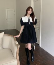 Dress Summer 2021 Black dress, white shawl Average size Mid length dress singleton  Short sleeve commute High waist Solid color Socket puff sleeve 18-24 years old 81% (inclusive) - 90% (inclusive)