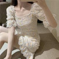 Dress Spring 2021 S,M,L,XL Average size Short skirt singleton  Short sleeve commute square neck High waist Broken flowers Socket other other 18-24 years old Type A Korean version 81% (inclusive) - 90% (inclusive)