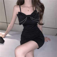 Dress Summer 2021 black S,M,L Short skirt singleton  Sleeveless commute Solid color A-line skirt camisole 18-24 years old Type A Korean version 81% (inclusive) - 90% (inclusive)
