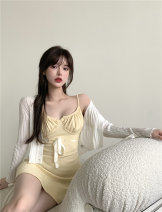 Dress Summer 2021 Yellow skirt and white cardigan Average size Short skirt singleton  Sleeveless commute square neck High waist Solid color Socket One pace skirt Pile sleeve camisole 18-24 years old 81% (inclusive) - 90% (inclusive)