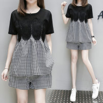 Women's large Summer 2021 black M L XL 2XL 3XL 4XL 5XL Other oversize styles Two piece set commute easy thin Socket Short sleeve Korean version Crew neck routine Three dimensional cutting routine Povera 25-29 years old Other 100% Pure e-commerce (online only) shorts