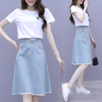 Dress Summer 2020 Picture color S M L XL 2XL Mid length dress Two piece set Short sleeve commute Crew neck High waist Solid color Socket A-line skirt 25-29 years old Type A Povera pocket More than 95% other Other 100% Pure e-commerce (online only)