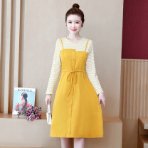 Women's large Autumn of 2019 Yellow black M L XL 2XL 3XL 4XL singleton  commute easy moderate Long sleeves Solid color Crew neck Medium length Three dimensional cutting WEI256 Povera 25-29 years old longuette Other 100%
