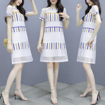 Dress Summer of 2018 Red stripe yellow stripe S M L XL 2XL 3XL Mid length dress singleton  Short sleeve commute Crew neck Loose waist stripe Socket A-line skirt 25-29 years old Type A Povera Splicing More than 95% other Other 100% Pure e-commerce (online only)