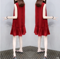 Dress Summer 2021 S M L XL XXL XXXL Mid length dress singleton  Sleeveless commute V-neck Loose waist Solid color Socket Pleated skirt Others 25-29 years old Povera Korean version More than 95% other Other 100% Same model in shopping mall (sold online and offline)