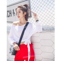 T-shirt S M L XL Summer of 2018 Long sleeves One word collar easy Regular Bat sleeve commute other 96% and above 18-24 years old Korean version Other 100%
