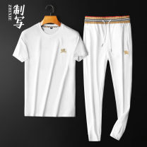 Leisure sports suit spring M L XL 2XL 3XL 4XL White green blue black light blue Short sleeve Writing trousers Large size T-shirt ZX-19826 cotton Spring 2021