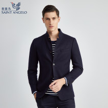 man 's suit Navy grey Saint Angelo Business gentleman thick Autumn of 2019 Self cultivation Multi grain single breasted Other leisure No slits youth Long sleeves winter routine Business Casual Casual clothes stand collar Solid color wool 80% (inclusive) - 89% (inclusive)