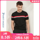 T-shirt Youth fashion Black red white stripe routine 44 46 48 50 52 54 Saint Angelo Short sleeve Crew neck Self cultivation daily summer Cotton 69.4% rayon 30.6% youth routine Basic public Summer 2020 stripe cotton Domestic famous brands 50% (inclusive) - 69% (inclusive)
