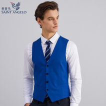 Vest / vest Business gentleman Saint Angelo 44 46 48 50 52 54 Blue clear face wedding Self cultivation Vest routine spring Double collar youth Business Formal  EBM21105U Solid color Single breasted wool Wool 55.4% polyester 28.7% Silk 9.2% polyurethane elastic fiber (spandex) 6.7% Spring 2020