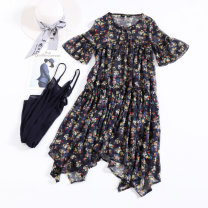 Dress Spring 2020 Picture Decor Mid length dress Two piece set Short sleeve street Crew neck Loose waist Decor Socket A-line skirt pagoda sleeve Others 30-34 years old Type A 81% (inclusive) - 90% (inclusive) organza  other Europe and America