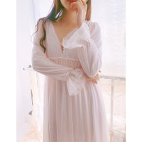 Nightdress Night's Lure Pink 155(S) 160(M) 165(L) Sweet Long sleeves longuette spring Solid color youth Crew neck cotton printing Mesh fabric Spring 2021 Cotton 100% no