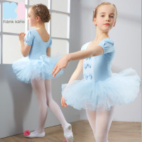 Children's performance clothes Sky blue, cherry powder, rose red, lavender female 110cm,120cm,130cm,140cm,150cm Other / other Class B Ki-022 short sleeve practice Cotton 93.7% polyurethane elastic fiber (spandex) 6.3% nylon 2, 3, 4, 5, 6, 7, 8, 9, 10, 11, 12, 13, 14 years old
