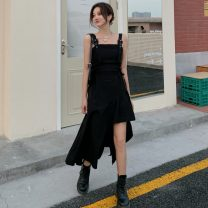 Dress Spring 2021 black S,M,L Mid length dress singleton  Sleeveless commute One word collar High waist Solid color zipper camisole 18-24 years old Korean version