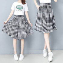 Casual pants Plaid skirt S,M,L,XL,2XL,3XL Spring 2021 Pant Wide leg pants High waist Versatile routine 18-24 years old cotton cotton