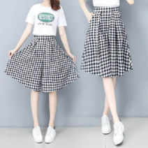 Casual pants Plaid skirt S,M,L,XL,2XL,3XL Spring 2021 Pant Wide leg pants High waist Versatile routine 18-24 years old cotton cotton