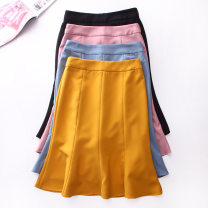 skirt Summer 2020 S,M,L,XL Black, pink, yellow, lake blue Middle-skirt Versatile High waist Ruffle Skirt Solid color Type X Lotus leaf edge