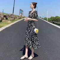 Dress Summer 2021 Picture color S,M,L,XL,2XL,3XL Mid length dress singleton  Short sleeve commute V-neck High waist Decor other A-line skirt routine 18-24 years old Type A Korean version Button V570 71% (inclusive) - 80% (inclusive) polyester fiber