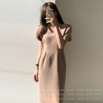 Dress Summer 2021 Khaki, black S,M,L Mid length dress singleton  Short sleeve commute V-neck High waist Solid color zipper A-line skirt Petal sleeve Others Type A Korean version 71% (inclusive) - 80% (inclusive) other