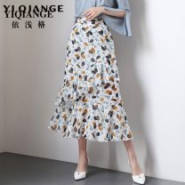 skirt Spring of 2019 M L XL 2XL 3XL 4XL Mid length dress commute High waist skirt other Type A According to shallow case printing Korean version Pure e-commerce (online only)