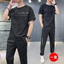 Leisure sports suit summer M L XL 2XL 3XL 4XL Black two piece set orange two piece set grey two piece set Short sleeve D & W (clothing) trousers youth T-shirt MKL606 nylon Spring 2021 50.1% nylon 47.9% viscose 2% spandex