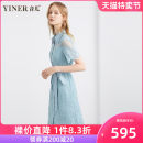 Dress Summer 2020 Sky blue 36 38 40 42 44 46 Mid length dress singleton  Short sleeve commute Polo collar Solid color Socket Big swing routine 30-34 years old Type X Sound Ol style 8C60205056 51% (inclusive) - 70% (inclusive) nylon Polyamide fiber (nylon) 50.6% cotton 49.4%