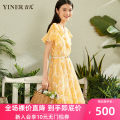 Dress Summer 2020 yellow 36 38 40 42 44 46 Mid length dress singleton  Short sleeve commute V-neck Broken flowers Socket Big swing Lotus leaf sleeve 30-34 years old Type X Sound Ol style 8C50205847 51% (inclusive) - 70% (inclusive) nylon Polyamide fiber (nylon) 67.2% cotton 32.8%
