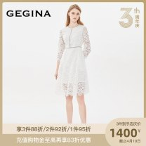 Dress Autumn of 2019 white 38/S/160 40/M/165 42/L/170 44/XL/175 Mid length dress singleton  Nine point sleeve commute Crew neck High waist zipper routine 30-34 years old GEGINA Ol style K163F2D03115 51% (inclusive) - 70% (inclusive) cotton Cotton 63.3% polyamide 23.6% regenerated cellulose 13.1%