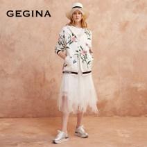 skirt Summer 2021 38/S/160 40/M/165 42/L/170 44/XL/175 White black Mid length dress Versatile High waist Irregular Solid color Type A 30-34 years old G21S1D020 More than 95% Lace GEGINA nylon Asymmetric mesh stitching lace Polyamide fiber (nylon) 100%