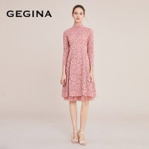 Dress Autumn 2020 Pink 38/S/160 40/M/165 42/L/170 44/XL/175 Mid length dress singleton  Long sleeves Sweet stand collar Loose waist Solid color zipper Big swing routine Others 30-34 years old Type A GEGINA Gauze lace 51% (inclusive) - 70% (inclusive) Lace cotton princess
