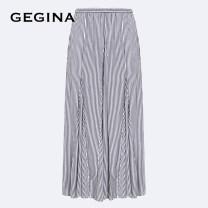 skirt Summer 2020 38/S/160 40/M/165 42/L/170 44/XL/175 navy blue Mid length dress fresh Natural waist other stripe Type A 30-34 years old F163D1C62738 More than 95% other GEGINA Viscose Gauze stripe Viscose (viscose) 100% Same model in shopping mall (sold online and offline)