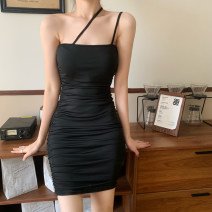 Dress Summer 2021 White, black S,M,L Short skirt singleton  Short sleeve commute square neck High waist Solid color Socket One pace skirt other Others Type A Korean version More than 95% other other