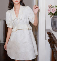 Dress Spring 2021 Milky white XS,S,M,L Middle-skirt singleton  Short sleeve commute Polo collar Single row two buttons Princess Dress puff sleeve Type X Korean version