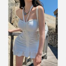 Dress Summer 2021 White, gray Average size Short skirt singleton  Sleeveless commute One word collar High waist Solid color Socket A-line skirt other Others Type A Korean version More than 95% other other