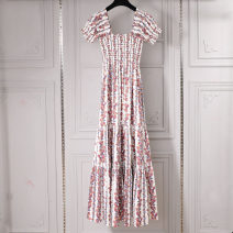 Dress Summer 2020 Decor M, L longuette singleton  Short sleeve street One word collar High waist Broken flowers Socket A-line skirt camisole 25-29 years old Type A Pleated, stitched, printed 81% (inclusive) - 90% (inclusive) brocade cotton Europe and America