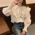 Women's large Autumn 2020 white T-shirt singleton  Sweet easy thin Socket Long sleeves Solid color Lotus leaf collar routine other pagoda sleeve Other / other 18-24 years old Button 96% and above Lotus leaf edge college