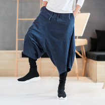 Casual pants Others Youth fashion Black, Burgundy, navy M,L,XL,2XL,3XL,4XL,5XL routine trousers Travel? easy No bullet winter Large size Chinese style 2019 middle-waisted horn Cotton 100% Haren pants Solid color cotton cotton More than 95%