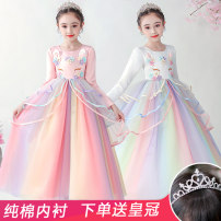 Dress female Yi Wenqi Polyester 100% All seasons princess Skirt / vest Solid color cotton A-line skirt Class B Spring 2021 3 years old, 4 years old, 5 years old, 6 years old, 7 years old, 8 years old, 9 years old, 10 years old, 11 years old, 13 years old, 14 years old Chinese Mainland Shantou City