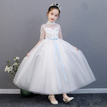 Dress Q1006 white vest 1006 pink vest 1006 green vest female Yi Wenqi Polyester 100% No season princess Long sleeves Solid color Pleats Q1009 Class B Autumn of 2019 3 years old, 4 years old, 5 years old, 6 years old, 7 years old, 8 years old, 9 years old, 10 years old, 11 years old, 12 years old