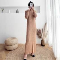 Dress Winter 2020 Black, apricot, khaki S (85-90 kg), m (90-110 kg), l (110-125 kg), XL (125-140 kg) longuette singleton  Long sleeves commute Half high collar Loose waist Solid color Socket One pace skirt routine Others 25-29 years old Type H Other Korean version 31% (inclusive) - 50% (inclusive)