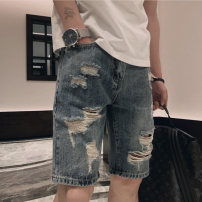 Jeans Youth fashion Others M,L,XL,2XL,3XL Light blue routine Micro bomb Regular denim Pant Other leisure summer teenagers middle-waisted Loose straight tube tide Straight foot zipper washing washing cotton